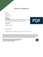 Quantity Certificate