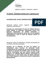Vigencia Plenos Jurisdiccionales Laborales a Julio 2013