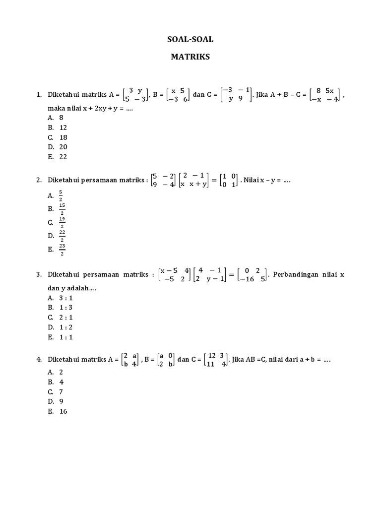 Soal-soal Matriks