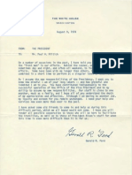 President Gerald R Ford Signed Letter to Vice Presidential Staff Member Paul Miltich 08.09.1974
