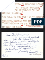 Chief Justice Warren E. Burger Oath of Office Card and Note to President Gerald R Ford 08.09.1974