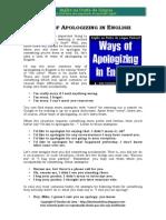 Ways of Apologizing in English