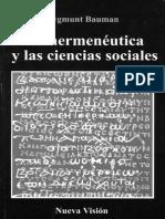 141032979 BAUMAN ZYGMUNT La Hermeneutica y Las Ciencias Sociales