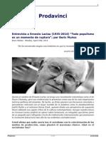 """Ernesto Laclau """"Todo Populismo Es Un Momento de Ruptura"""""""
