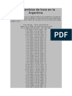 Los Cambios de Hora en La Argentina