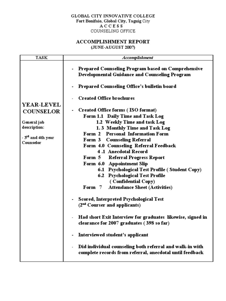 Accomplishment Report In Math Curriculum Education Scribd  How To Write A Daily Report Sample
