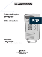 RE-1 Residential Telephone Entry System With Built-in Wireless Receiver, Installation, Programming, and Operation Instructions