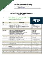 Sched of 90th VSU Founding Anniv