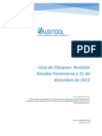 Lista de Chequeo Para Revisar El Cierre a 31 de Diciembre de 2013