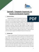 Resumen Ejecutivo Seminario - Orientación Vocacional y Acceso a La Educación Superior