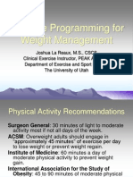 Exercise Programming for Weight Management 1