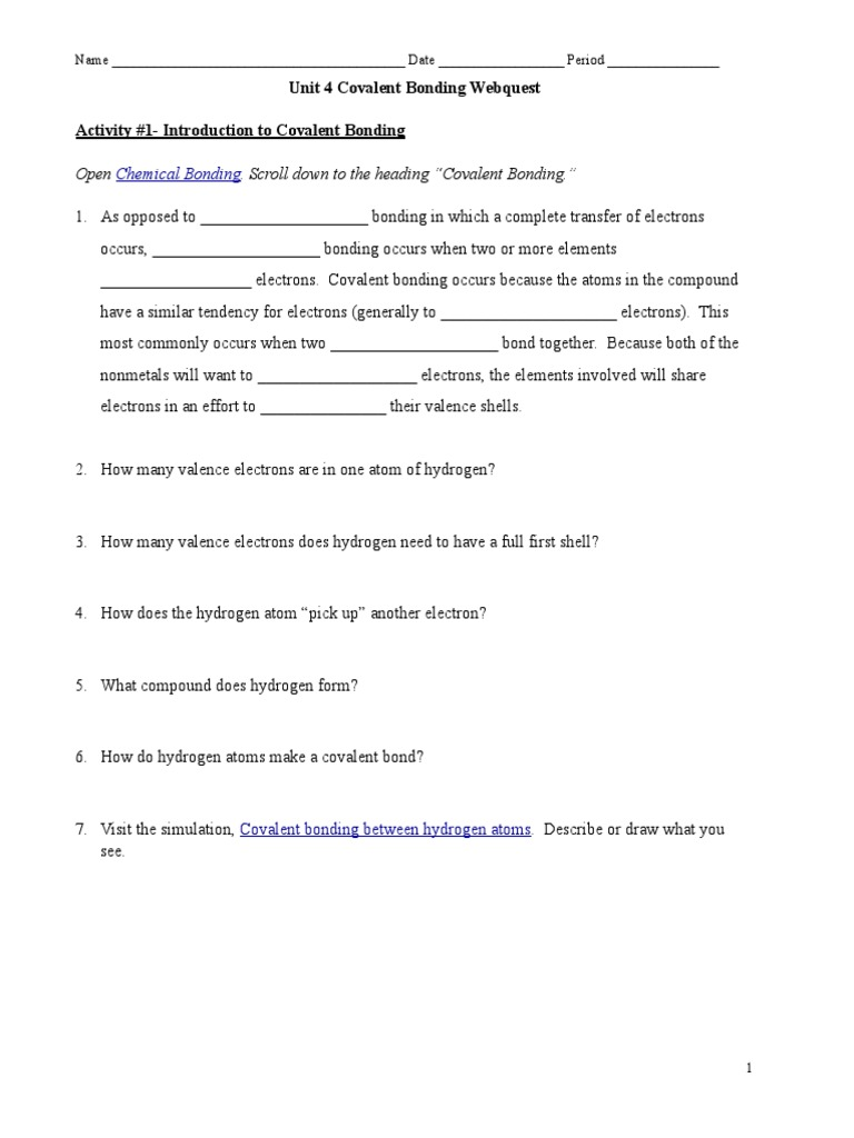 Covalent Bonding Lewis Structure Webquest – Covalent Bonding Worksheet Answers