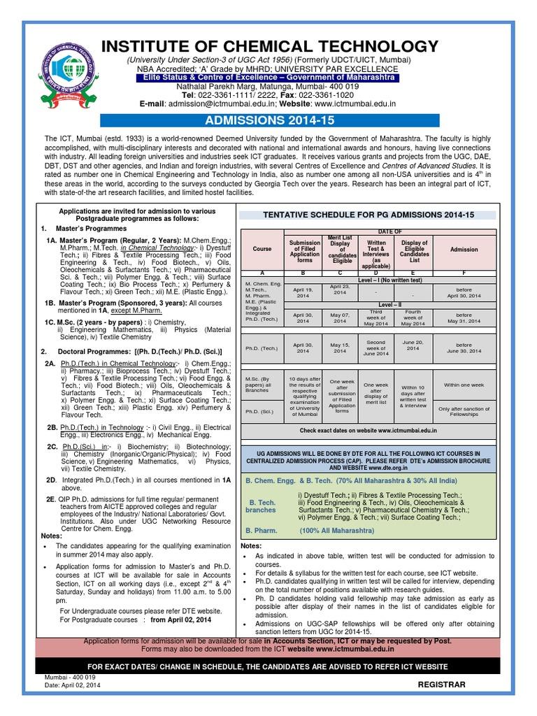 Postgraduate Admission Notice 2014-15   Science And