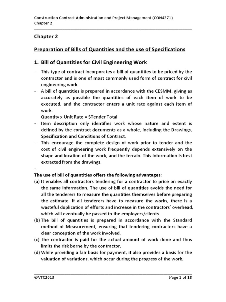 Chapter 2 bill of quantity and specification specification chapter 2 bill of quantity and specification specification technical standard general contractor altavistaventures Choice Image