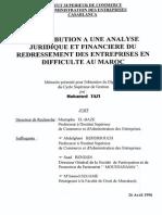Contribution à Une Analyse Juridique Et Financière Du Redressement Des Entreprises en Difficulté Au Maroc