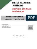 Wellington Tamil Christian Fellowship News Letter