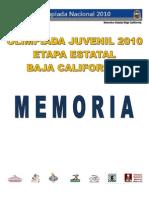 MEMORIA Etapa Estatal de Ajedrez Olimpiada Nacional 2010