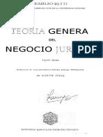 Betti, Emilio - Teoría General Del Negocio Jurídico - 1ª Parte