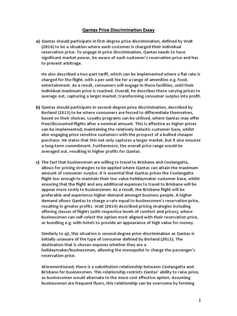qantas price discrimination essay price discrimination prices