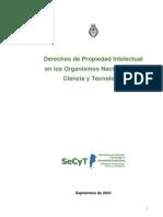 SECYT Argentina 2003 Derechos de Propiedad Intelectual en Los Organismos Nacionales de CyT