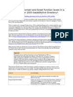 What are the domain and forest function levels in a Windows Server 2003