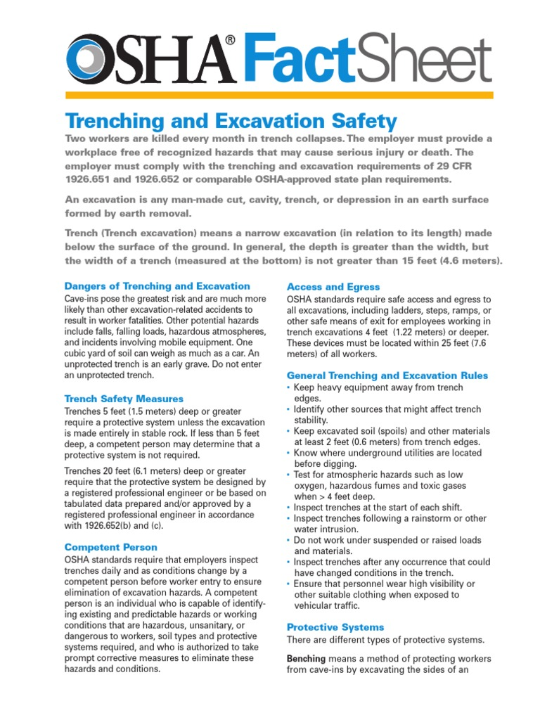 Sheet Trenching And Excavation Safety Occupational Safety And Health Administration Safety