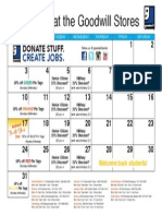 Goodwill's August Retail Calendar