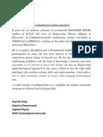 Reccomendation Letter