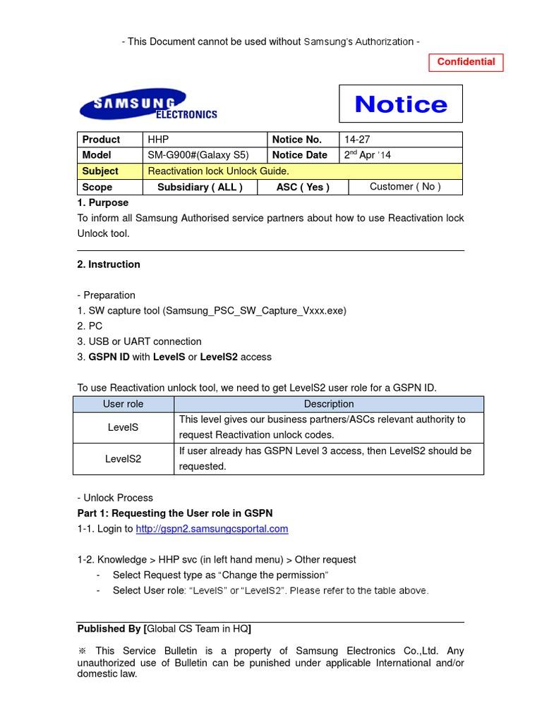 Galaxy_S5_Unlocking_Reactivation_Lock_Guide_Rev2_0 pdf | Usb