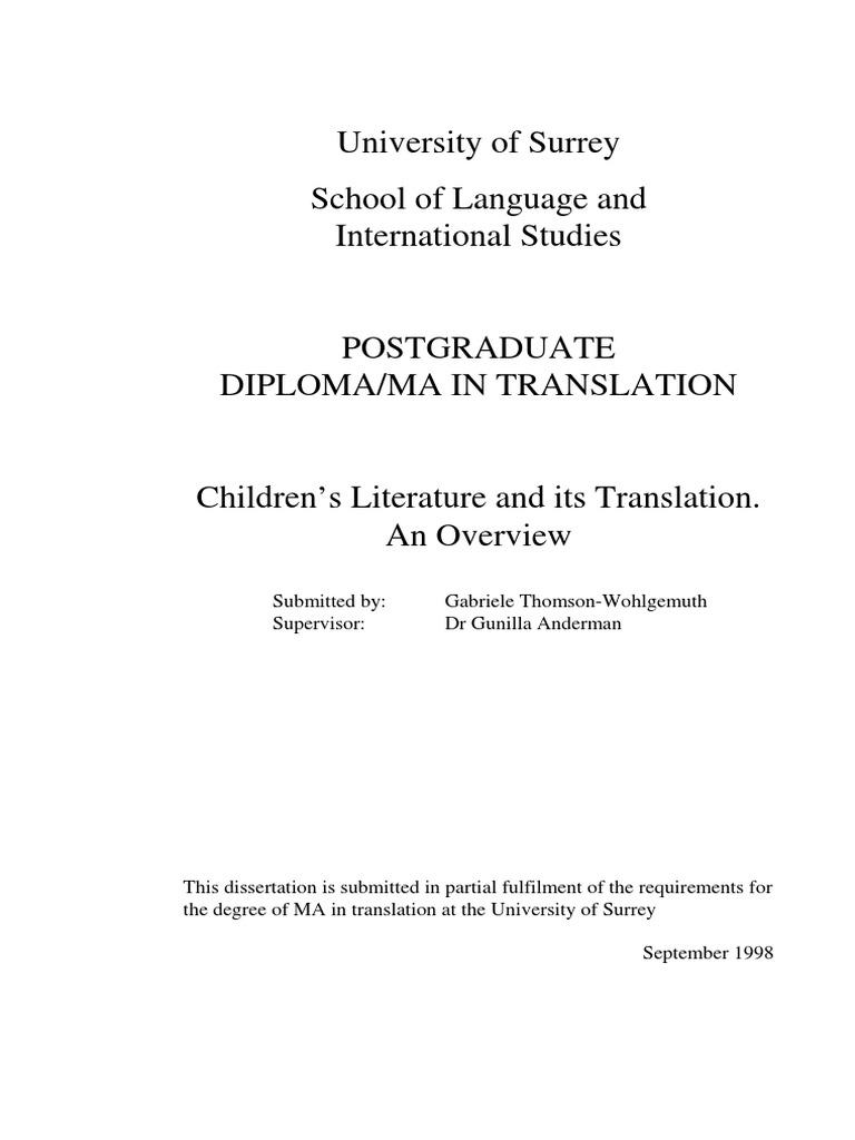 Children\'s Literature and Its Translation | Translations ...