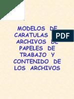 Modelos de Caratulas de Papeles de Trabajo