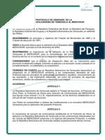 Protocolo de Adhesión de Venezuela Al Mercosur