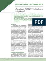 Influencia de CYP2C19 en La Eficacia de Clopidogrel