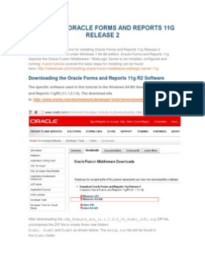 INSTALLING ORACLE FORMS AND REPORTS 11G RELEASE 2 pdf   Oracle