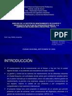 Analisis Gestion Mantenimiento Equipos y Propuesta Plan Operacion