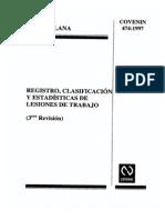 COVENIN 474-1997 Registro, Clasificacion, y Estadisticas de Lesiones de Trabajo