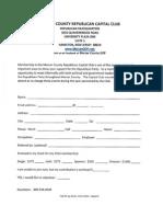 Capital Club Membership Form 7-14