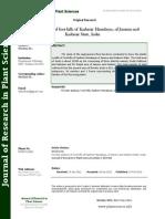 Floristic Analysis of Foot Hills of Kashmir Himalayas, Of Jammu and Kashmir State, India