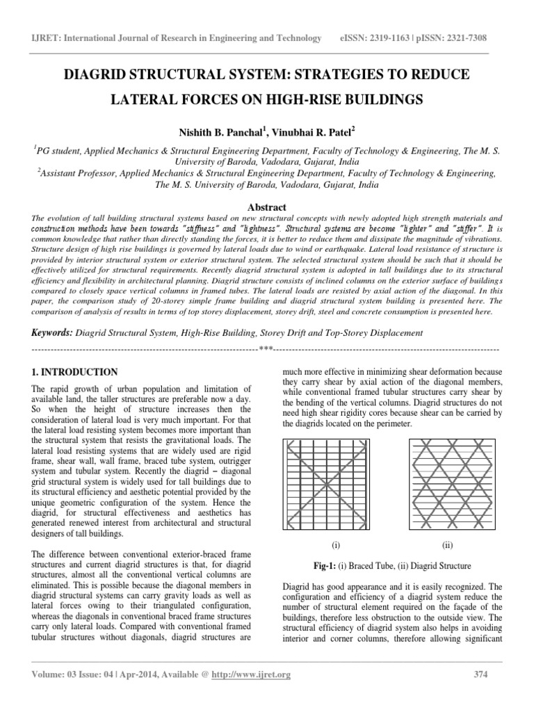 Diagrid Structural System Strategies to Reduce Lateral Forces on