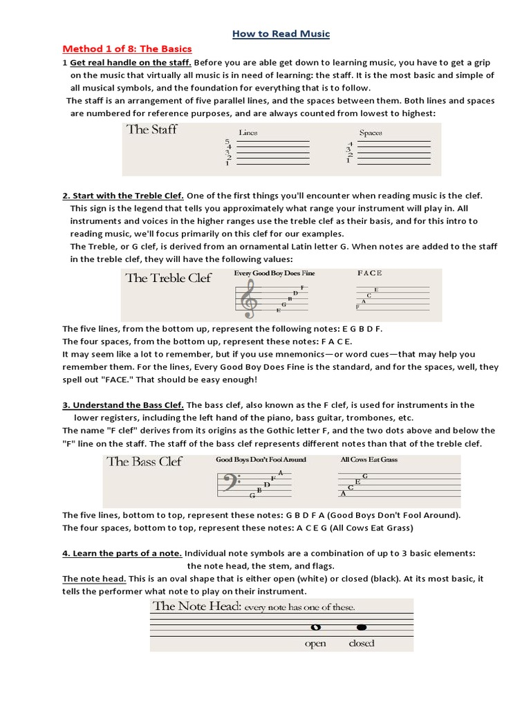 How To Read Music Scale Music Clef