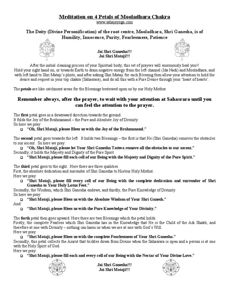 4 Petals Of Mooladhara Chakra For All Sahaja Yoga Chakra Prayer