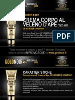 "Crema corpo al VELENO D'APE ""Wonder Body"" LR WONDER su www.goldnoir.it"