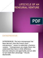 Lifecycle of an Entrepreneurial Venture
