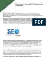 SEO, De qué manera Optimar El Posicionamiento De Tu Web De Manera Natural.