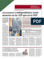 Descuentos a Independientes Serán Menores en AFP Que ONP_Gestión 1-08-2014