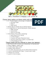 keleher supply list14-15