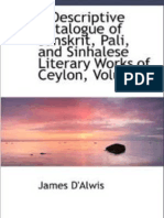 Discriptive Catalogue of Sanskrit ,Pali and Sinhalese Litarary Works - Volume 1  by JAMES de ALVIS