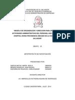 """Modelo de Organización y Dirección Para Optimizar Las Actividades Administrativas Del Personal Que Labora en El Hospital Divina Providencia Ubicado en La Ciudad de San Salvador"""""""