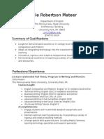 Leslie Robertson Mateer - Teaching Resume - Short