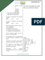 Lista Exercicios Angulos Complementares Suplementares